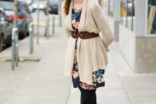 With floral mini dress, black tights and brown high boots