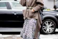 With floral printed ruffled midi dress, sunglasses and marsala high boots
