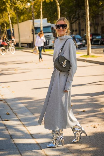 With gray maxi dress and olive green bag