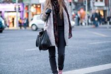 With jeans, black hat, coat, black bag and scarf