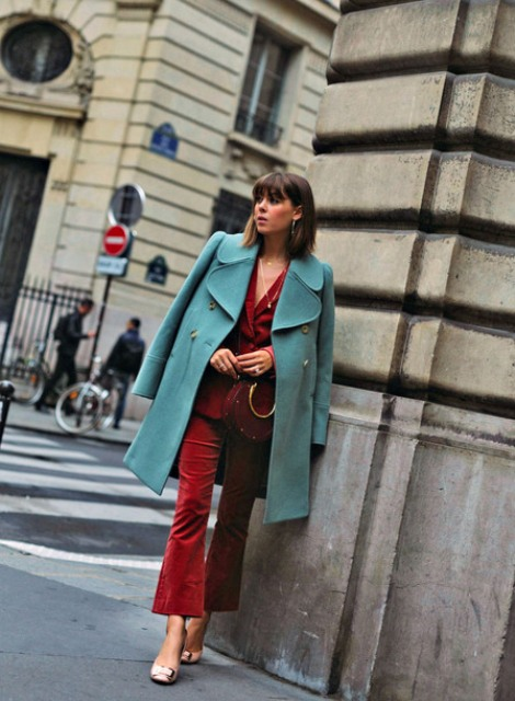 With knee-length coat, corduroy blazer, bag and beige shoes