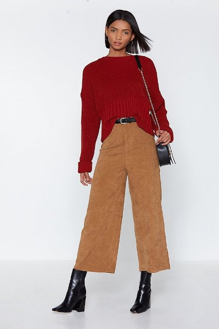 With marsala sweater, chain strap bag and black mid calf boots