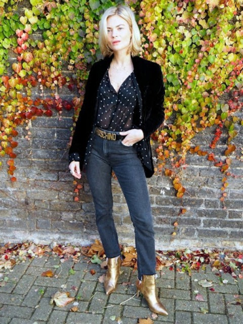 With polka dot blouse, black blazer and jeans
