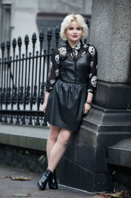 With printed button down shirt and black ankle boots