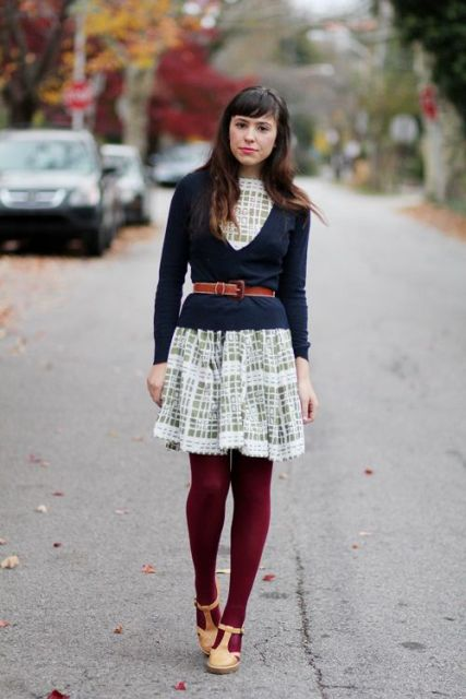 With printed mini dress, marsala tights and brown shoes