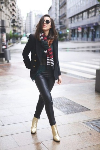 With printed scarf, emerald blouse, black blazer and black leather skinny pants