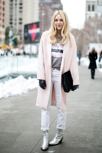 With printed shirt, white pants, black clutch, black gloves and pale pink coat