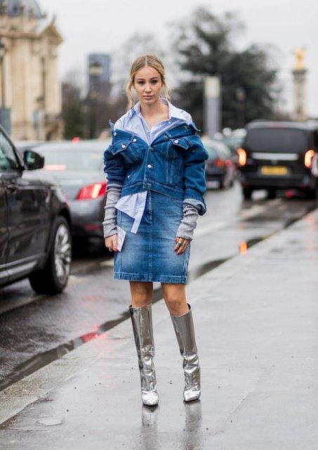 With shirt, denim jacket and denim skirt