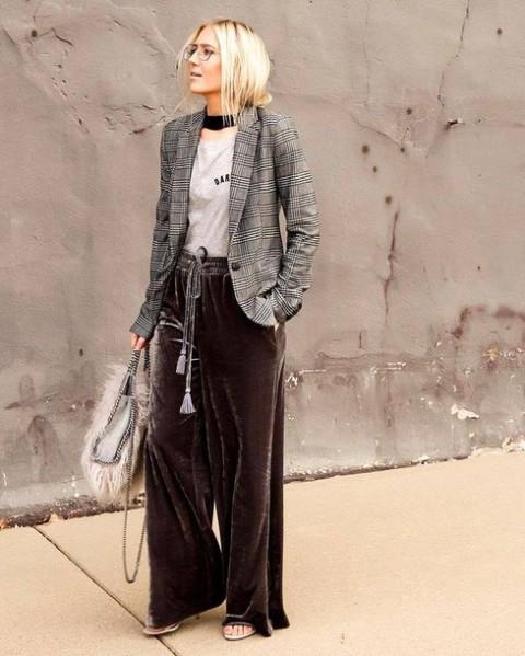 With shirt, fur bag, checked blazer and high heels