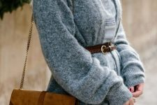 With shirtdress and brown suede fringe chain strap bag