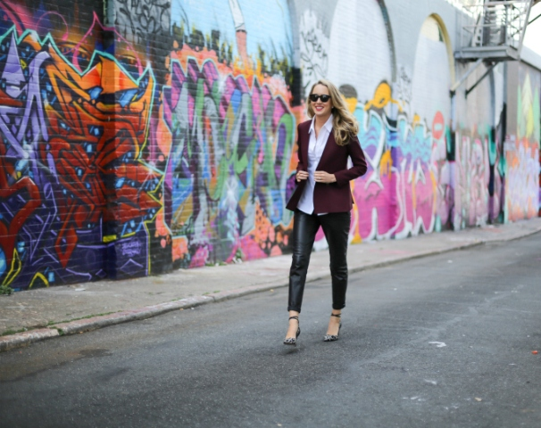 With white button down shirt, marsala blazer and ankle strap shoes