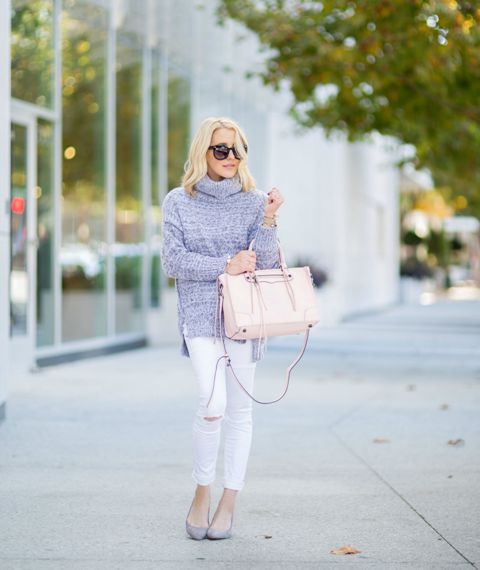 With white distressed pants, pale pink bag and lilac pumps