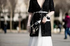 With white lace midi dress, chain strap bag and silver and black boots