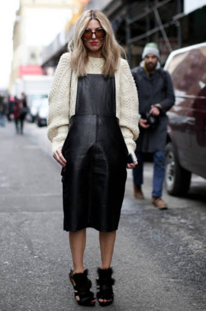 With white loose sweater and fur shoes