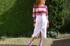 With white midi skirt and striped sweater