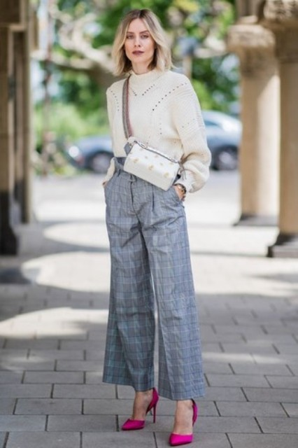 With white sweater, crossbody bag and pink pumps