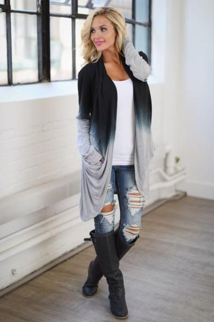 With white t-shirt, distressed jeans and black high boots