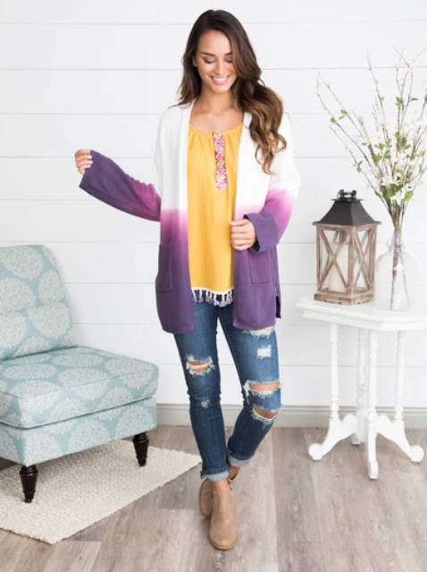 With yellow blouse, distressed skinny jeans and beige ankle boots
