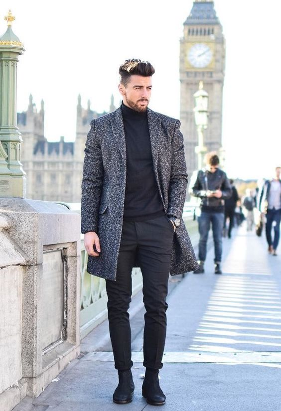 a black turtleneck, black pants, boots and a black printed coat will compose a nice look for work