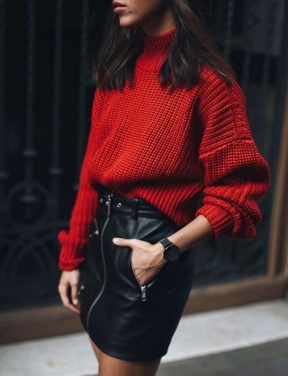 a black zipped leather mini, a red chunky knit turtleneck sweater are all you need for a statement holiday look