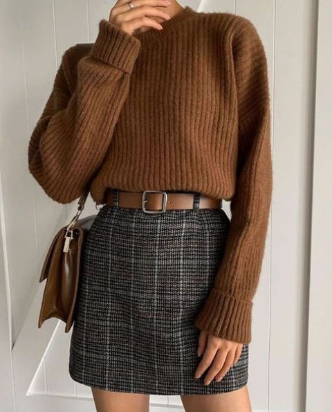 a comfortable high neckline taupe sweater, a grey tweed plaid mini skirt, a brown belt and a brown skirt for winter
