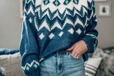 a cozy and chic look with a blue printed turtleneck sweater, blue jeans are a cozy and stylish look this winter