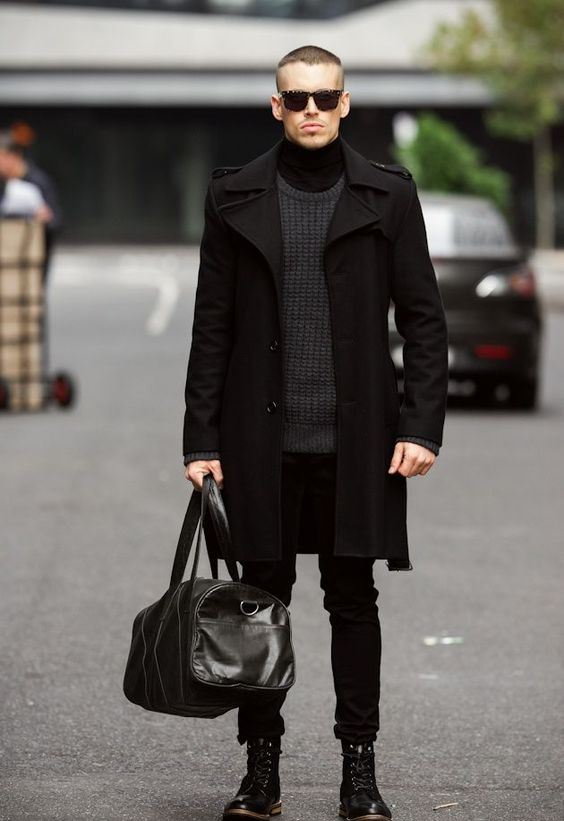 a gorgeous total black look with a turtleneck, a chunky sweater, jeans, boots, a coat and a bag
