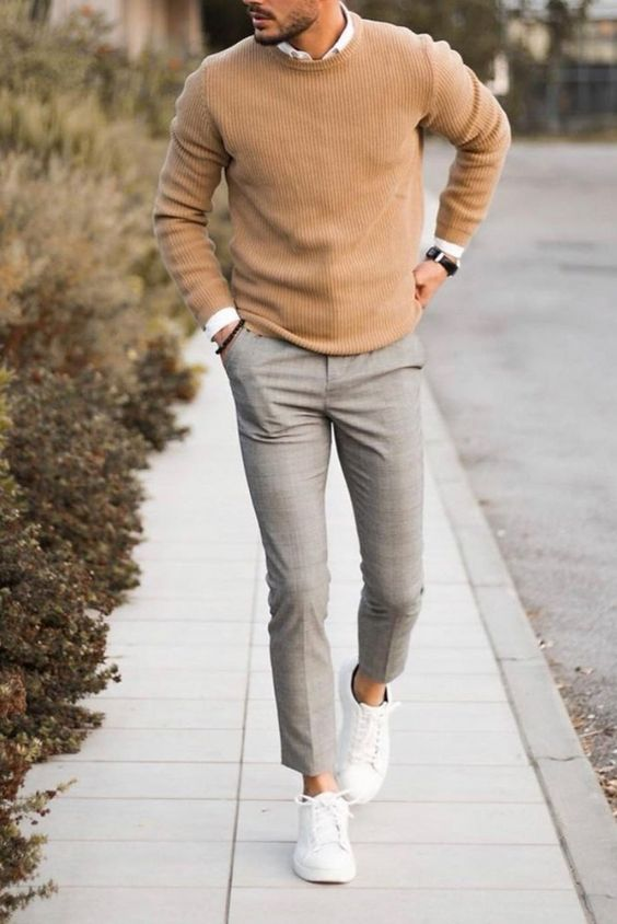 a minimal look with a white shirt, a tan sweater, grey plaid pants, white sneakers for a stylish party look