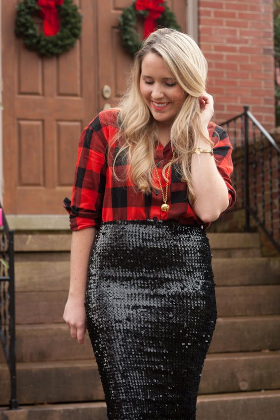 a red plaid shirt, a black sequin pencil skirt and a statement necklace for a cool and bold party look