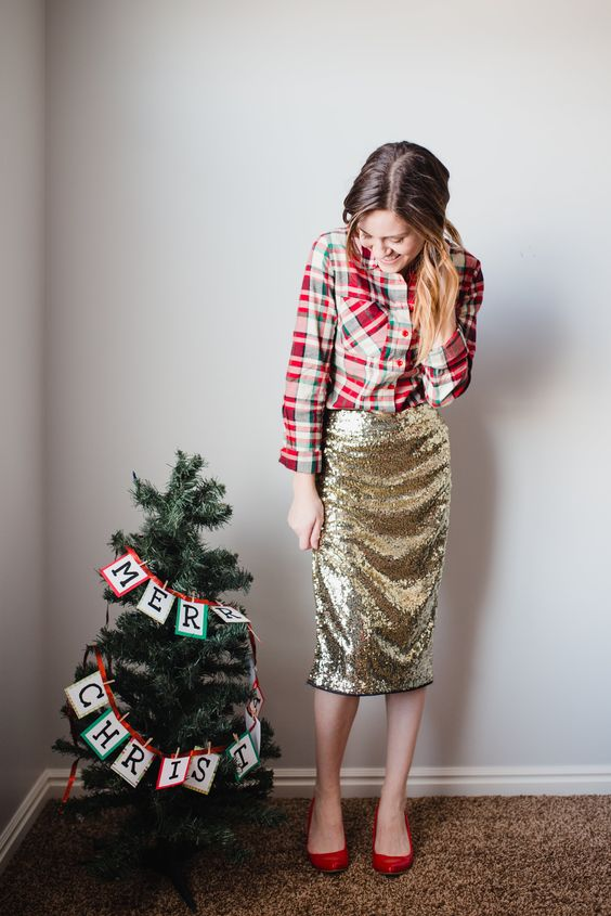 a red plaid shirt, a gold sequin midi skirt and red shoes are an easy and cool outfit for the holidays