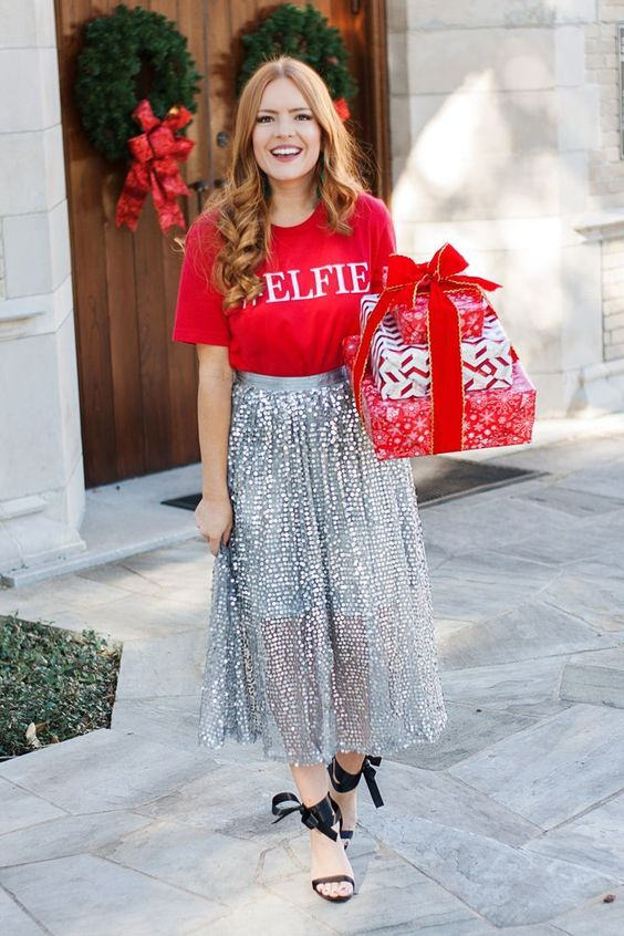 a red printed tee, a silver sequin midi skirt and black bow shoes for a simple and cool outfit