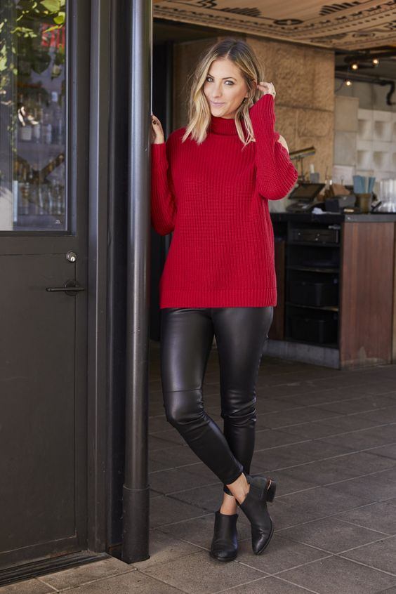a red turtleneck sweater, black leather leggings and black booties for a simple chic and cool outfit