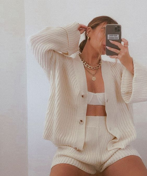 a simple creamy knit set with a cozy cardigan and high waisted shorts is a nice idea for outdoors, too