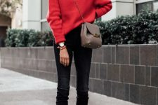 a simple holiday look with black skinnies, nude shoes, a red sweater, a grey bag is all you need for Christmas