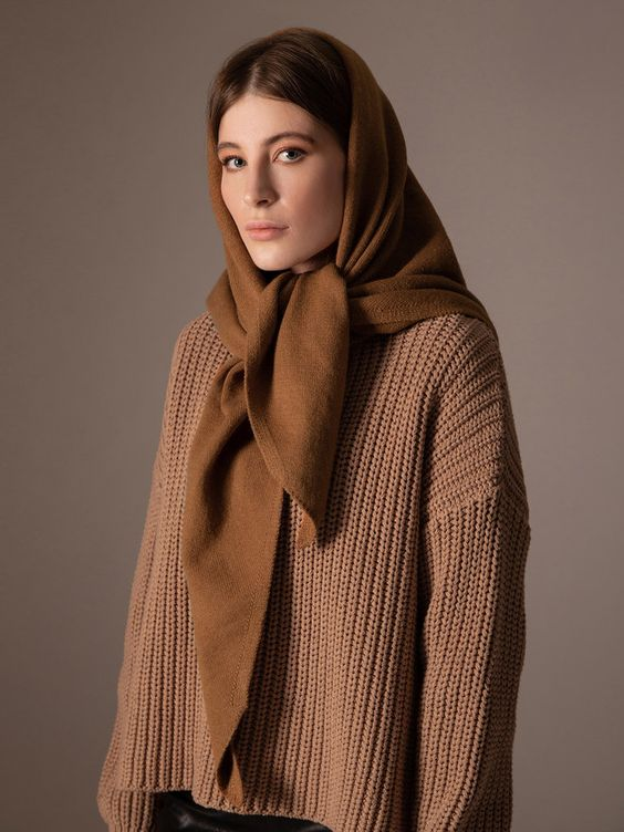 a stylish chocolate brown headscarf will keep you warm and your look will be super trendy