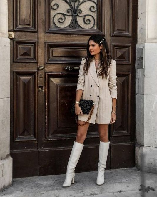 a tan leather blazer dress, white knee high boots and a black bag for a stylish and sexy outfit