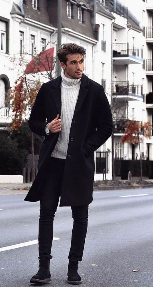 a total black look refreshed with a white turtleneck sweater is a stylish and bold idea to try
