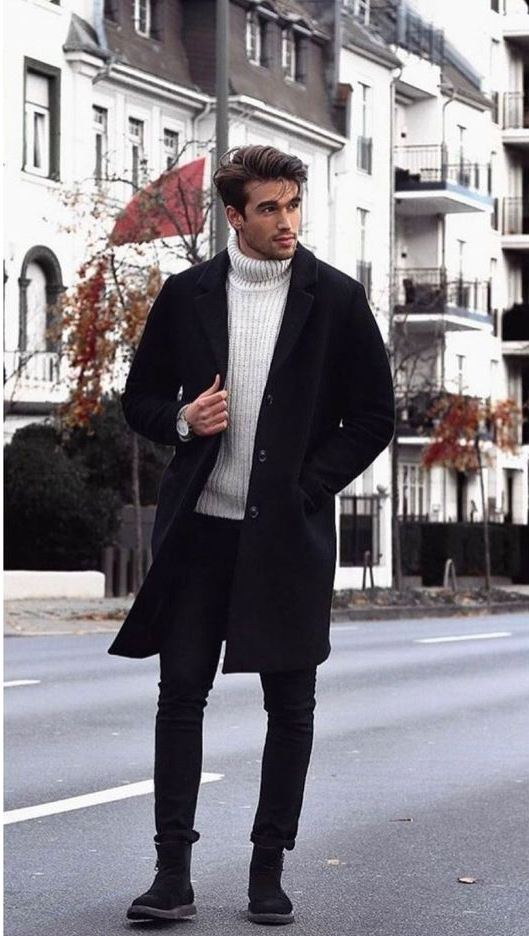 a white turtleneck sweater, black jeans, black boots and a black coat for a chic monochromatic look