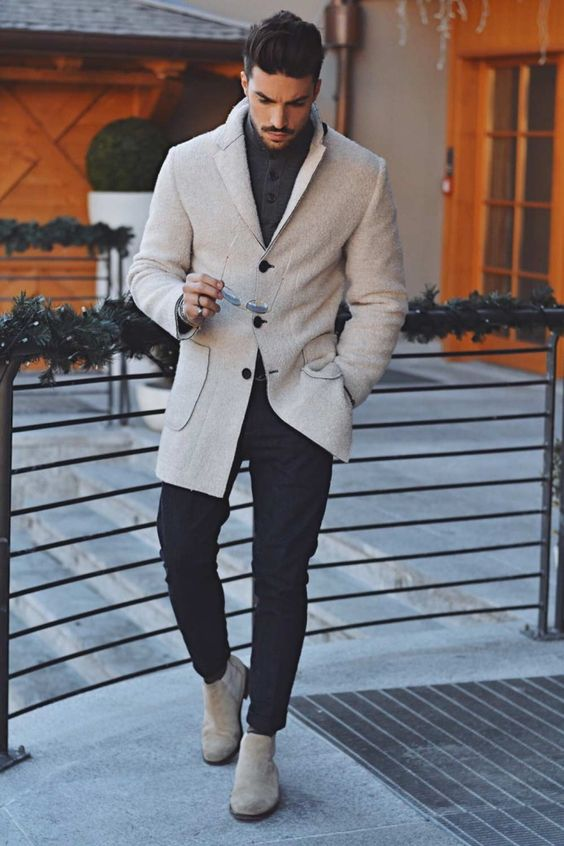 navy pants, a grey sweater, a white short coat and white boots for a super elegant and chic look