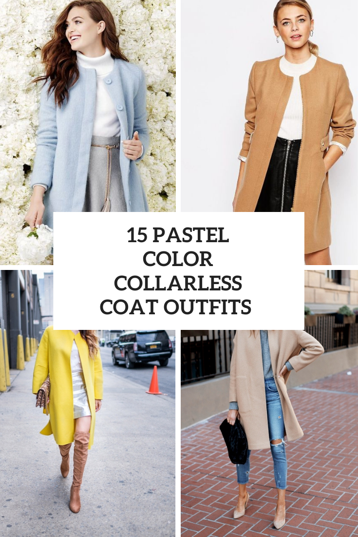 15 Outfits With Pastel Color Collarless Coats