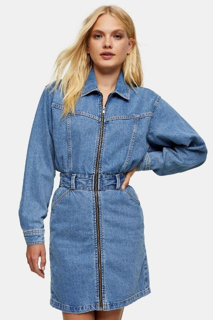 Denim long sleeved belted dress