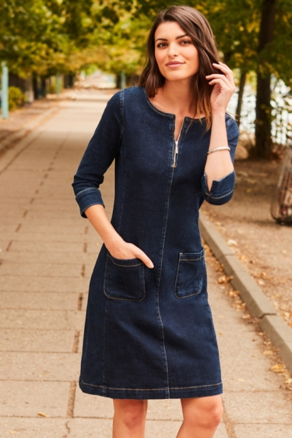 Navy blue denim knee-length dress