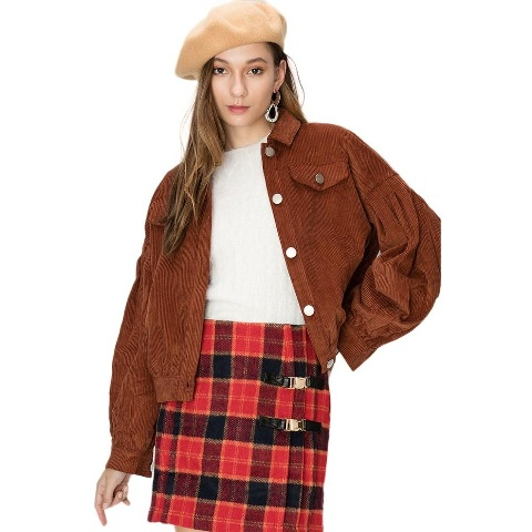 With beige beret, white shirt and plaid mini skirt