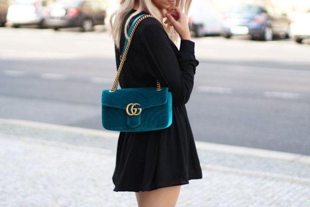 With black mini dress