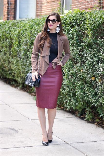 With black shirt, marsala pencil skirt, chain strap bag and black pumps