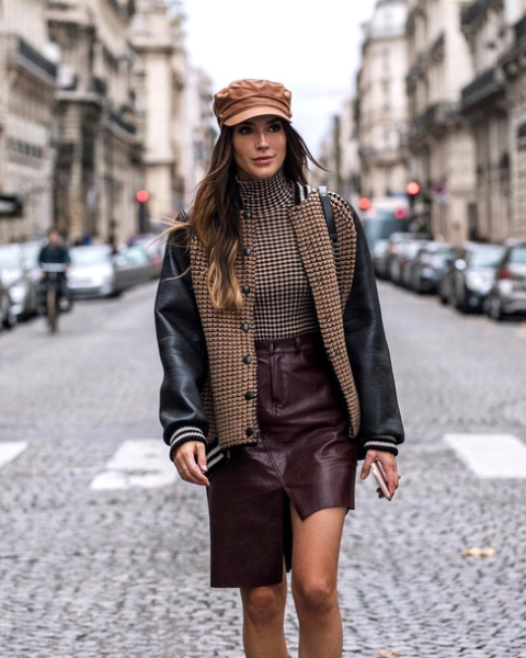 With brown cap, checked turtleneck and printed jacket