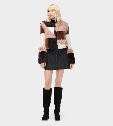 With button front mini skirt and black high boots