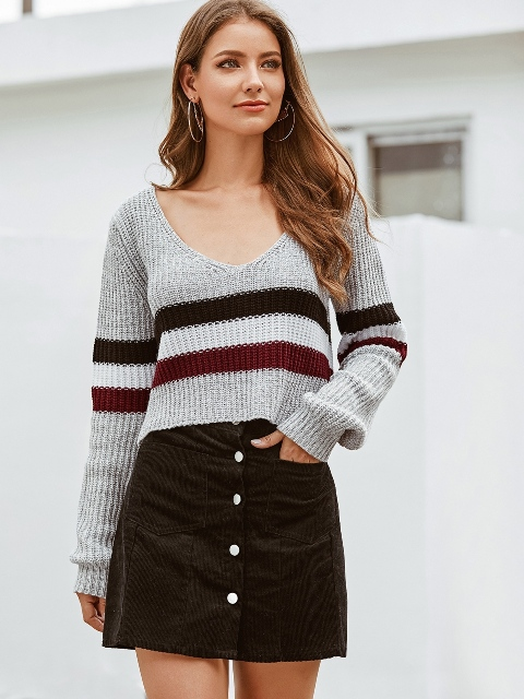With button front mini skirt