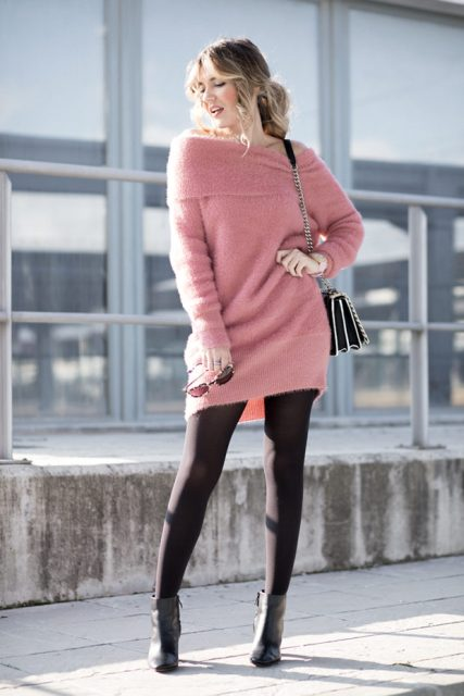 With chain strap bag, black tights and black ankle boots