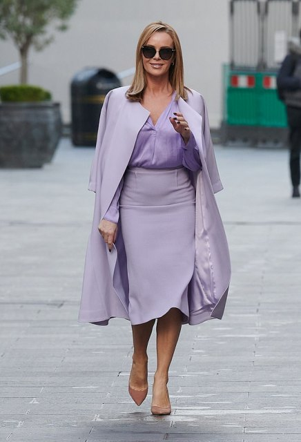 With lilac shirt, lilac coat and beige shoes